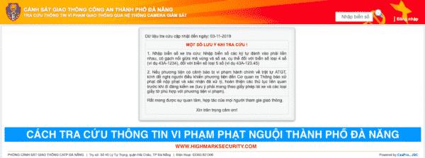 Trang web tra cứu xe Vi Phạm Giao Thông Đà Nẵng